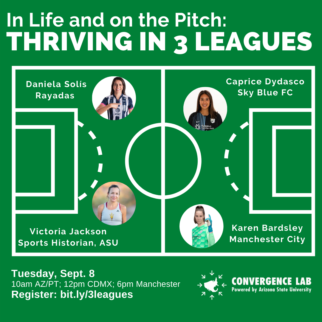 """Title says """" In Life and on the Pitch, Thriving in 3 Leagues,"""" shows pictures of four speakers."""